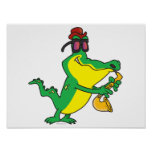 gator blues alligator playing sax cartoon poster