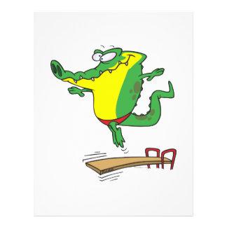 gator diving off diving board cartoon flyer design