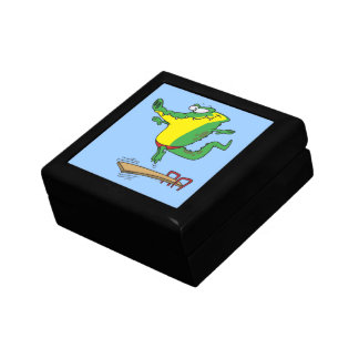gator diving off diving board cartoon small square gift box