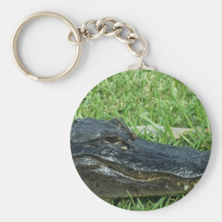 Gator in grass basic round button key ring