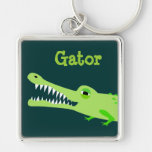 Gator Keyring Silver-Colored Square Key Ring