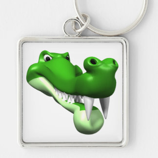 Gator Silver-Colored Square Key Ring