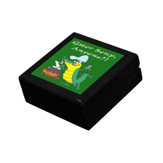 gator soup anyone funny alligator cooking cartoon small square gift box