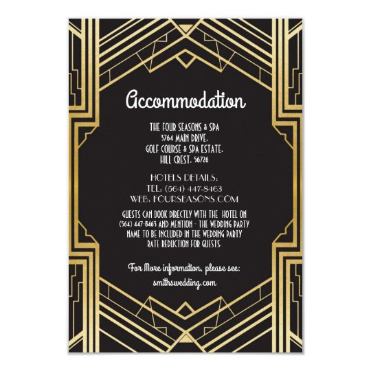 Gatsby Art Deco 1920s Accommodation Wedding Card