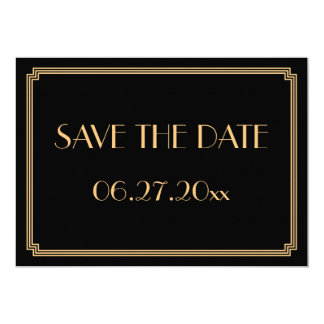 Gatsby Art Deco Black Wedding Save The Date Card