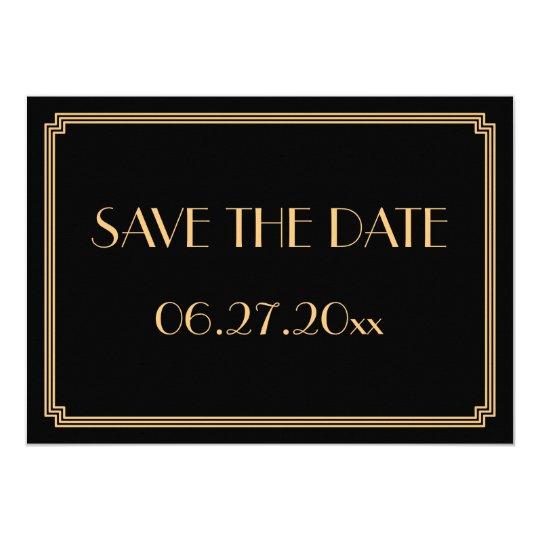 Gatsby Art Deco Black Wedding Save The Date
