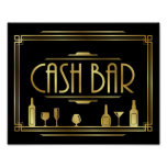 Gatsby Art Deco CASH BAR Sign Print