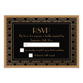 Gatsby Art Deco Fans Black and Faux Gold RSVP Card