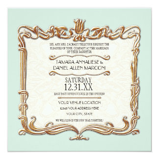 Gatsby Art Deco Nouveau Lace Faux Gold Tulip Card