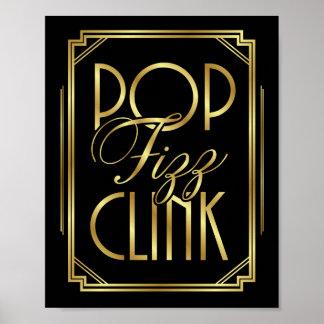 Gatsby Art Deco POP FIZZ CLINK Sign Print