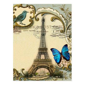 gatsby art deco swirls Vintage paris eiffel tower Postcard