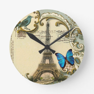 gatsby art deco swirls Vintage paris eiffel tower Round Clock