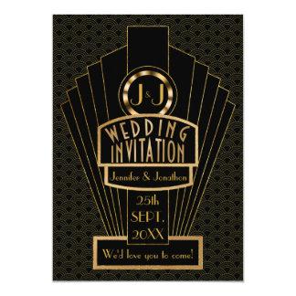 Gatsby Fanfare Vintage Art Deco Wedding Card