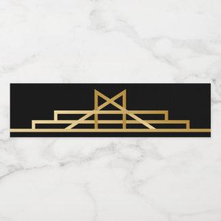 Gatsby Gold & Black Art Deco Wedding Party Water Bottle Label