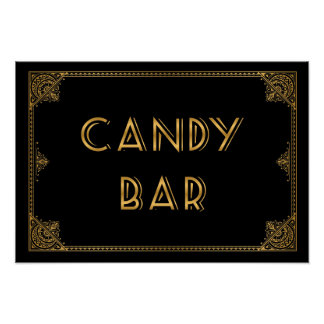 Gatsby inspired wedding sign CANDY BAR Poster