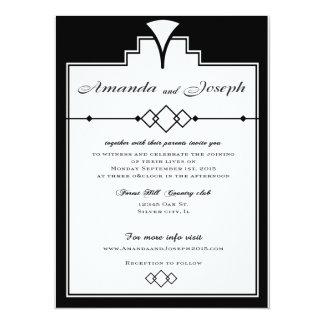 Gatsby Wedding invitation Black and white