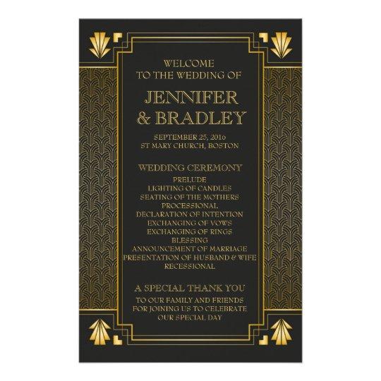 Gatsy Black & Gold Wedding Program Flyer