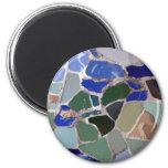 Gaudi Blue Mosaics 6 Cm Round Magnet