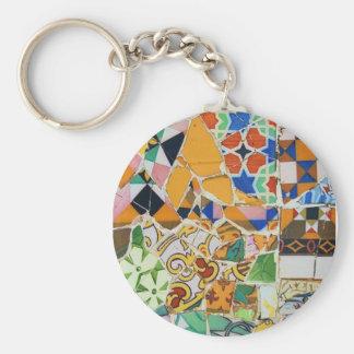 Gaudi Ceramic Tile Basic Round Button Key Ring