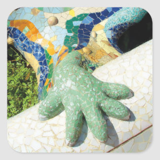 Gaudi Hand Mosaic Square Sticker