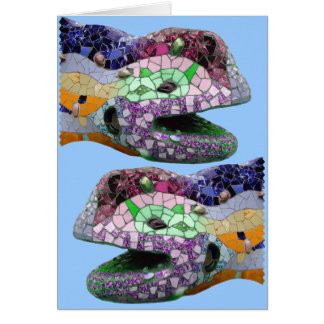 Gaudi Lizard Head Mosaics Card