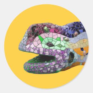 Gaudi Lizard Head Mosaics Classic Round Sticker