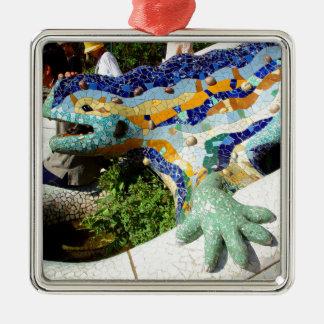 Gaudi Lizard Mosaics Silver-Colored Square Decoration
