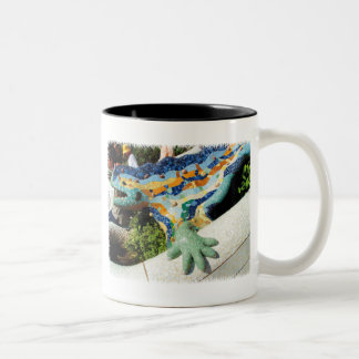 Gaudi Lizard Mosaics Two-Tone Coffee Mug