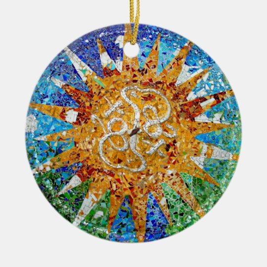 Gaudi Sunburst Mosaic Christmas Ornament