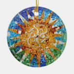 Gaudi Sunburst Mosaic Round Ceramic Decoration