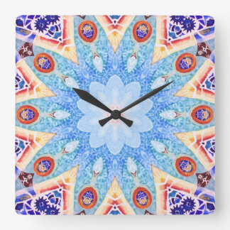 Gaudi Tile Pattern. Square Wall Clock