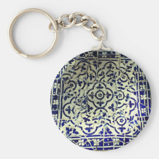 Gaudi's Park Guell Mosaic Tiles Barcelona Basic Round Button Key Ring