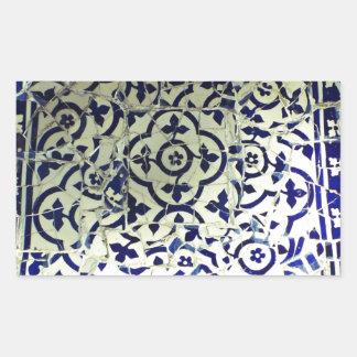 Gaudi's Park Guell Mosaic Tiles Barcelona Rectangular Sticker