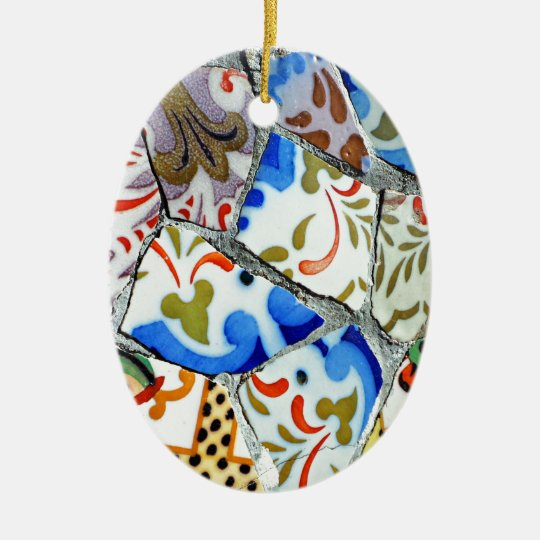 Gaudi's Park Guell Mosaic Tiles Christmas Ornament