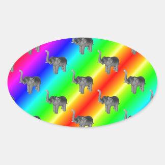 Gaudy Bright Rainbow Elephant Pattern Oval Sticker