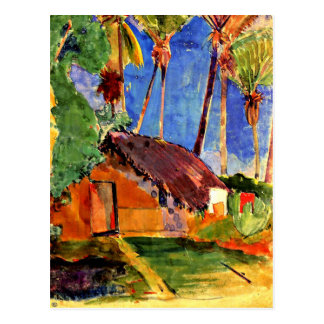 Gauguin - Thatched Hut under Palms Postcard