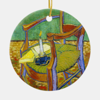 Gauguin's Chair vincent van gogh painting Double-Sided Ceramic Round Christmas Ornament