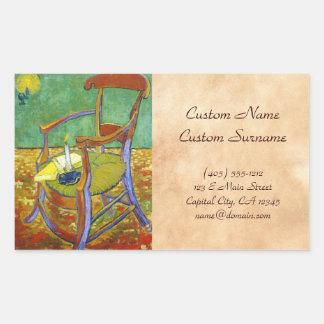 Gauguin's Chair vincent van gogh painting Rectangular Sticker