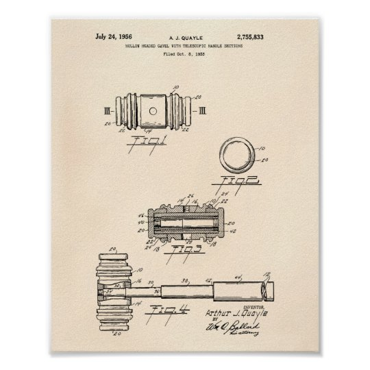 Gavel of Justice 1956 Patent Art - Old Peper Poster