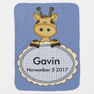 Gavin's Personalized Giraffe Baby Blanket