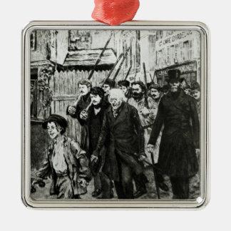 Gavroche Leading a Demonstration Silver-Colored Square Decoration