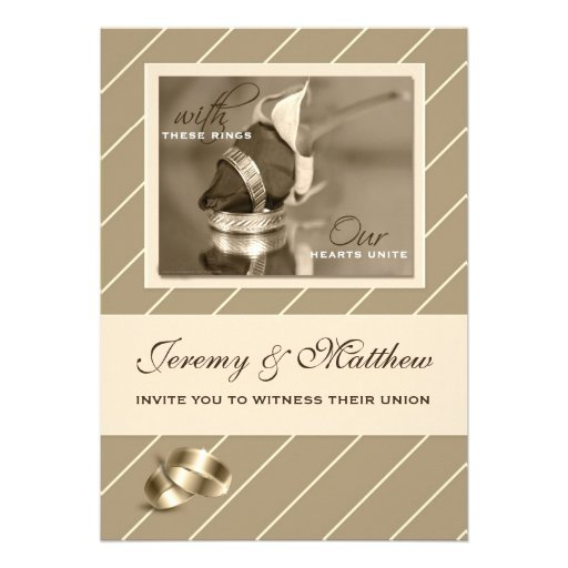 Gay and Lesbian Wedding Invitation Taupe Pinstripe
