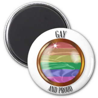 Gay And Proud Flag Button Magnet