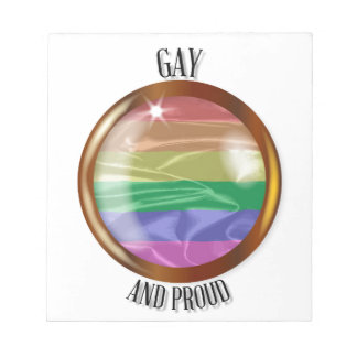 Gay And Proud Flag Button Notepad