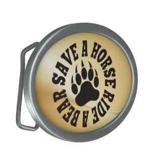 Gay Bear Bear Paw Save a Horse Ride A Bear Oval Belt Buckle