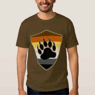 Gay Bear flag Bear Pride Shield Bear Paw Tee Shirt