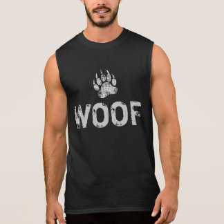 Gay Bear Pride distressed Bear Paw WOOF Sleeveless Shirt