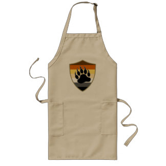 Gay Bear Pride Flag Shield Bear Paw Long Apron