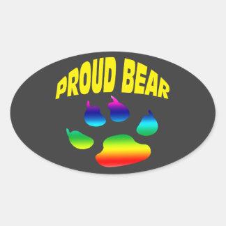 Gay bear pride sticker. oval sticker