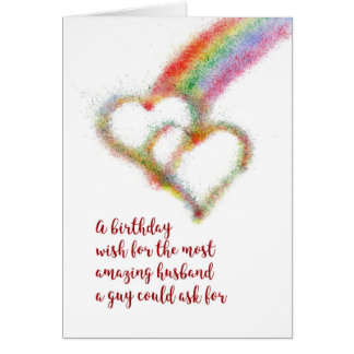 Gay Birthday Wish for Husband, Rainbow, Hearts Card